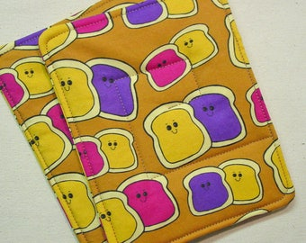 PBJ Pot Holders - Peanut Butter Jelly Novelty - Spoonflower PBJ - PBJ Novelty - Peanut Butter Jelly Decor - pbj Decor - Pbj Kitchen Gift