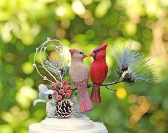 RESERVED for LAURA - Custom Winter Woodland Cardinal Love Birds Wedding Cake Topper