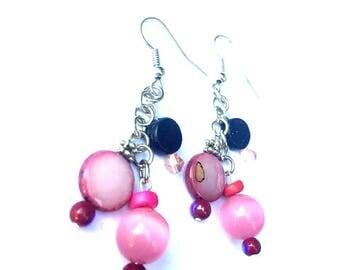 Earrings - Dangle Earrings - Pinks and Purples - Cluster - Glitter - Silvertone