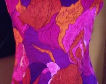 1960s Pink Hibiscus Hawaiian Maxi Dress Bold Print