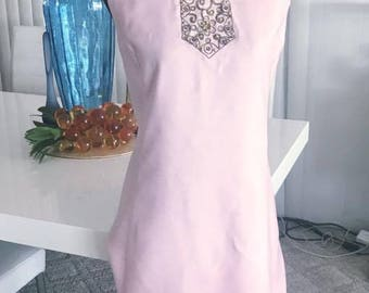 Gorgeous Early 60's Baby Pink Linen Slim Dress with Egyptian Revival Beading and Rhinestones on Neck -- Size L
