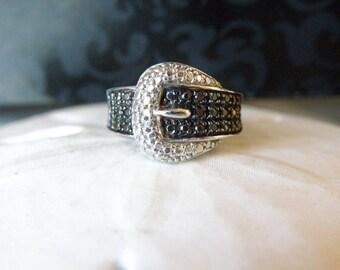 Vintage Designer Style Belt Buckle Black White Diamond Illusion Band Ring Size 5