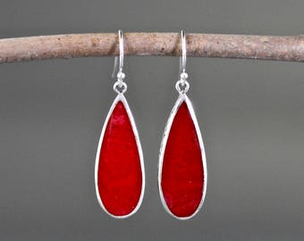 Coral Earrings - Bali Silver Earrings - Coral Dangles - Silver Earrings - Coral Jewelry - Red Coral - Statement Jewelry - Jewelry Gift