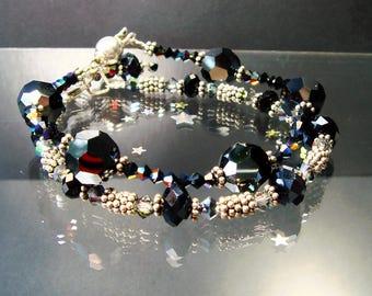 Swarovski & Bali Silver Bracelet, Black Crystal, Silver Stacking Bracelet, Black Tie, Bali Sterling, Layering Bracelet, Cocktail Party