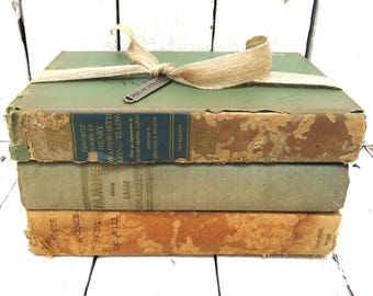 Vintage Books, Green and Copper Books, Rustic Old Books, Decor Books, Antique Books, Home Office Decor, Instant Library, Shabby Cottage Chic