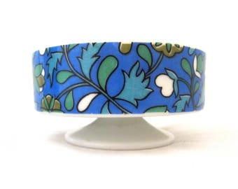 HOLT HOWARD Footed Dish 1960s Blues Floral Print #7132
