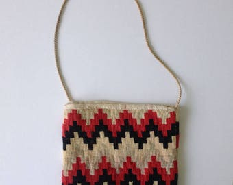 c.1850-70s Victorian Work Bag Berlin Work Style Embroidered Cross Stitch - Black, Red, Cream and Pale Green