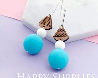 1 Pair (SBW11) Silicone Balls Laser Cut Geometric Wooden Dangle Earrings - HEW Series - Ocean Sea Summer Beach