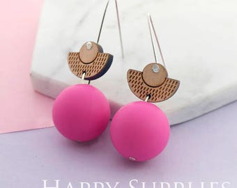1 Pair (SBW22C) Silicone Balls Laser Cut Geometric Wooden Dangle Earrings - HEW Series - Ocean Sea Summer Beach