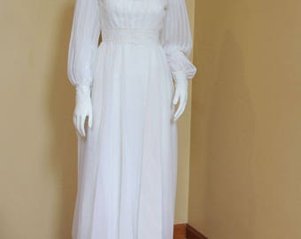 Vintage Late 1960s to Early 1970s Long White Sheer Fabric and Lace Wedding Dress