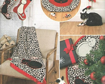 CAT Holiday Stockings, Tree Skirt, Throw, Cat Bed, Cat Toys by Simplicity #8284. Brand new and uncut