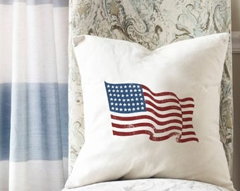 American Flag Pillow, Flag Pillow Cover, Patriotic Home Decor, USA Flag, Red White and Blue Pillow, Throw Pillow Cover, Fourth of July Decor