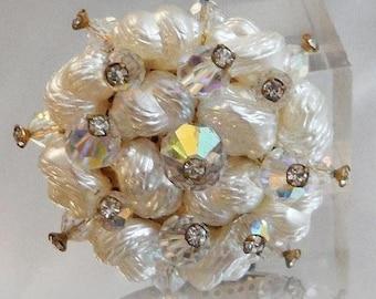 SUPER SALE Vintage Austrian Crystal 1950s Brooch.  Austrian Crystals. Aurora Borealis. Rhinestones. Pearly Beads.