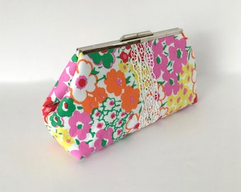 Floral clutch, summer clutch, resort clutch, preppy clutch, pink green clutch, wedding accessories, cotton lace, one of a kind