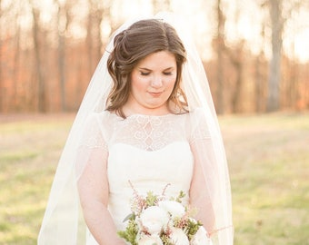 Bridal Veil, Cathedral Veil,  Wedding Veil, Long Veil, Ivory Veil, White Veil, Poof Veil, Bridal Illusion Veil, Floor Length Veil, Church
