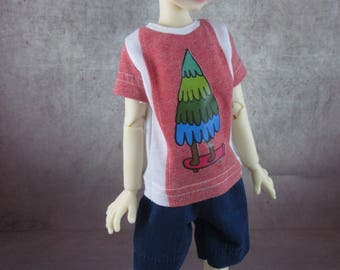 Skateboarding Tree T-shirt and board shorts for Maurice by Kaye Wiggs MSD BJD Boys