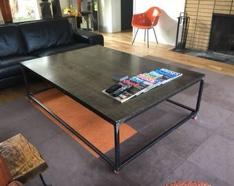 Modern Industrial Extra Large Coffee Table On Wheels