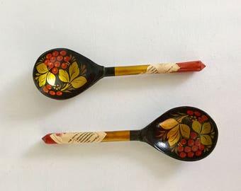 Vintage Russian Khokhloma Folk Art USSR Handicraft Decorative Painted Spoons