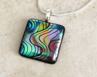 Dichroic Fused Glass Jewelry - Waves of Color - Dichroic Pendant and Necklace - Pendant - 37-14