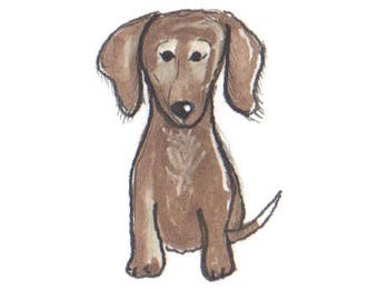 PRE ORDER Dachshund 1 Dog Print, Pet Portrait, Dog Art, Dog Drawing, Doodle, Puppy Birthday, Adopt Puppy, Puppy Party, Dog Party, Wall