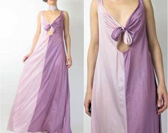 Vintage 1970s Slip Dress Lingerie Nightgown Cut Out Keyhole Disco Era Maxi Dress Two Tone Dress Pink Purple Lilac Low Back (S/M) E7091