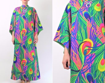 1960s Peacock Print Dress 60s Psychedelic Dress Angel Sleeve =Festival Hippie Boho Vintage 60s Bright Neon Maxi Dress (M) E8059