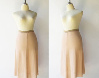 Vintage Blush Skirt / Dusty Pink Knit Skirt / Size S