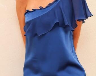 Lapis Blue One Shoulder Ruffle Shift Dress, Off Shoulder Cocktail Dress, One Half Sleeve Party Dress, Boho Formal Dress, Made to Order