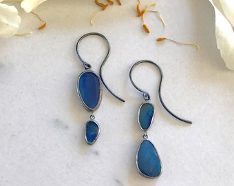 Blue Morpho Butterfly Boulder Opal Earrings in Oxidized Sterling Silver