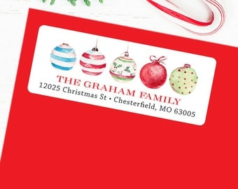 Christmas Address Labels - Vintage Watercolor Christmas Ornaments - Sheet of 30