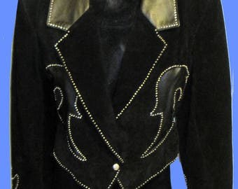 Women's Western Style Suede & Leaher studded Jacket SZ L (10)