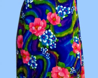 Womens Vintage Hawaiian Hostess Long Dress SZ M