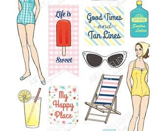Printable RETRO BEACH die cuts!-Digital File Instant Download- ephemera, summer, collage, Bando, the Happy Planner, hand drawn