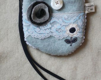 little girl's purse, bag, blue,white,grey,flower, reclaimed wool and leather,flowers,vintage trims, lace