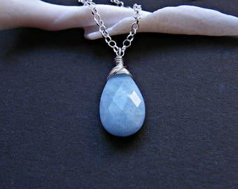 Blue aquamarine necklace, aquamarine silver necklace, sterling silver aquamarine dainty necklace, wire wrapped aquamarine pendant in silver