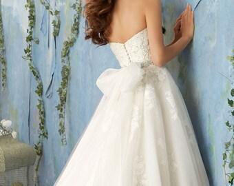 Ivory organza organdy tie sash ribbon wedding gown dress large bow