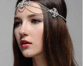 Sally A Boho Bohemian Goddess Vintage Jeweled Gatsby wedding Headband Head Piece Forehead Headdress