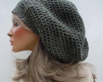 Green and Cream Hat, Camo Green Rasta, Military Green Tam, Olive Green Tam, Rasta Tam Cap, Hippie Hat, Bag Hat, Slouchy