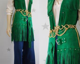 vintage suede vest, vintage fringed vest, suede 70s vest