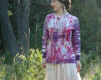 Boho Gypsy Blouse / Tie Dye / Long Sleeve / Cotton / Hippie / Bohemian / Shirt / Top  / Boho Style Shirt /