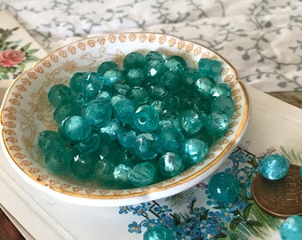 Vintage Emerald Silver lined Glass Beads, Czech Beads 8x6mm, Teal Green, Silver foil beads, Cottage chic beads, Unique beads, Rare #B132C