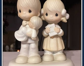 Precious Moments Figurine, Rejoicing With You, Baby Baptism, Christening, Cake Topper, Cedar Tree Mark 1987