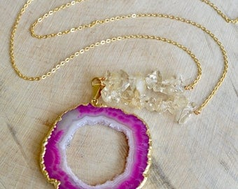 Natural Pink Agate Druzy slice pendant necklace with Citrine chips. Long gold necklace.
