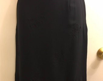 Vintage 90's Valerie Stevens 100% Silk Soft Black Fully Lined Soft Classy Knee Length Skirt With Tiny Black Beads SZ 14