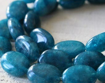 Apatite Flat Oval Beads For Jewelry Making - Flat Gemstone Beads - 9x14mm Oval Gemstone - Choose Amount
