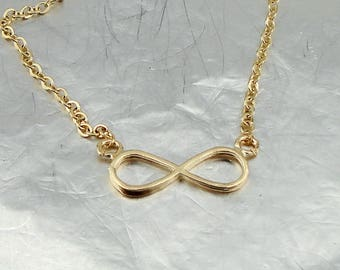 Tiny Infinity Necklace, Gold Infinity, Infinity Pendant, Tiny Gold Necklace, 14k Gold Filled, Delicate Pendant, Love, For Her, Gift, Wedding