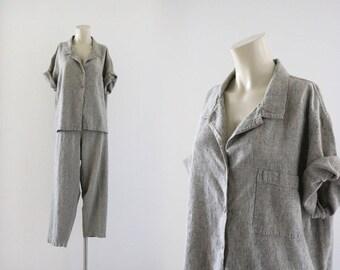 2 pc linen top + pants / xl