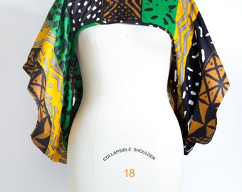 African Print Shrug Green and Brown - One Size