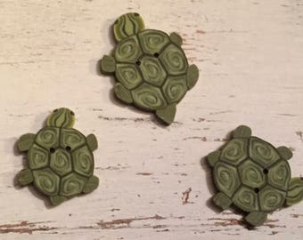 "Turtle Buttons, ""Tiny Turtles"" Handmade Buttons by JABC, Set of 3, Sewing, Cross Stitch, Quilting, Embellishments"