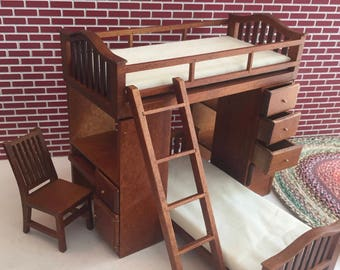 Miniature Walnut Bunkbed Set With Chair, Ladder, Side Desk and Drawers, Dollhouse Miniature, Dollhouse Furniture, Mini Wood Bunk Beds